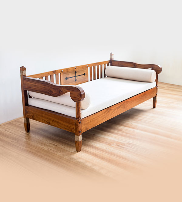 TEAK COUCH - With Seat & Bolsters B